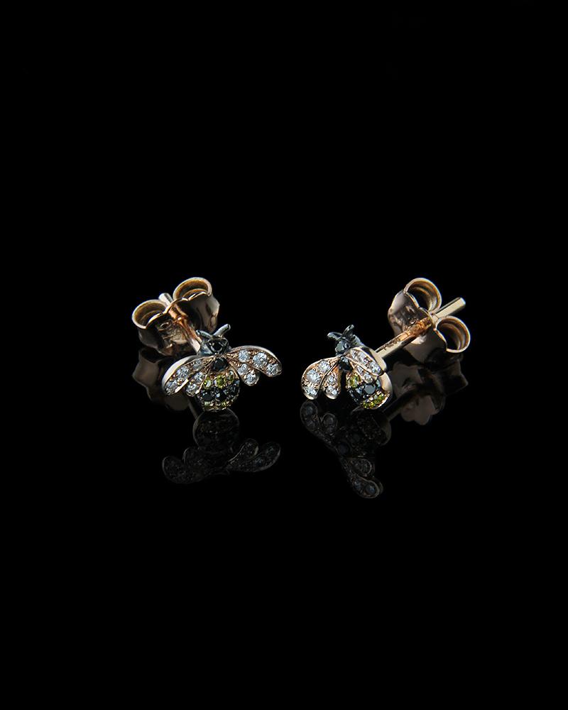 Σκουλαρίκια ροζ χρυσό Κ18 με Διαμάντια   νεεσ αφιξεισ κοσμήματα γυναικεία