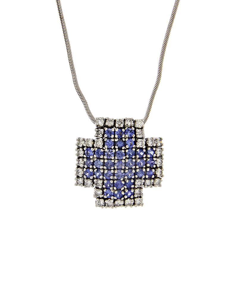 Σταυρός λευκόχρυσος Κ18 με Διαμάντια και Ζαφείρια