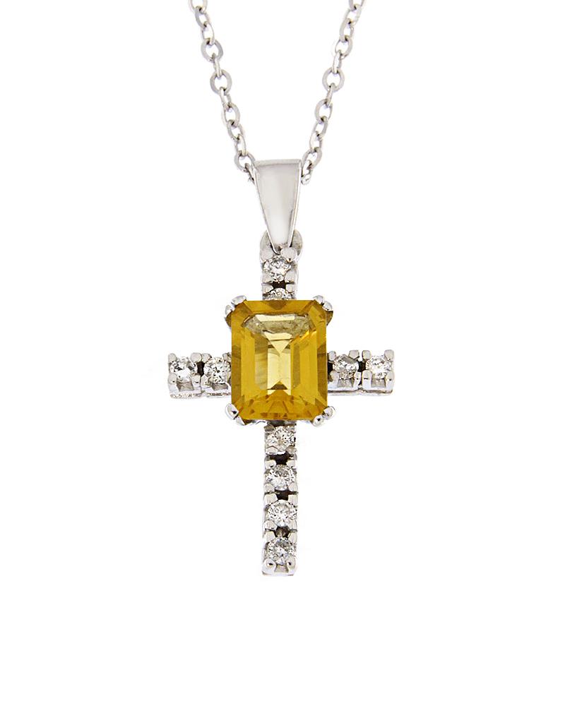 Σταυρός λευκόχρυσος Κ18 με Διαμάντια και Citrine
