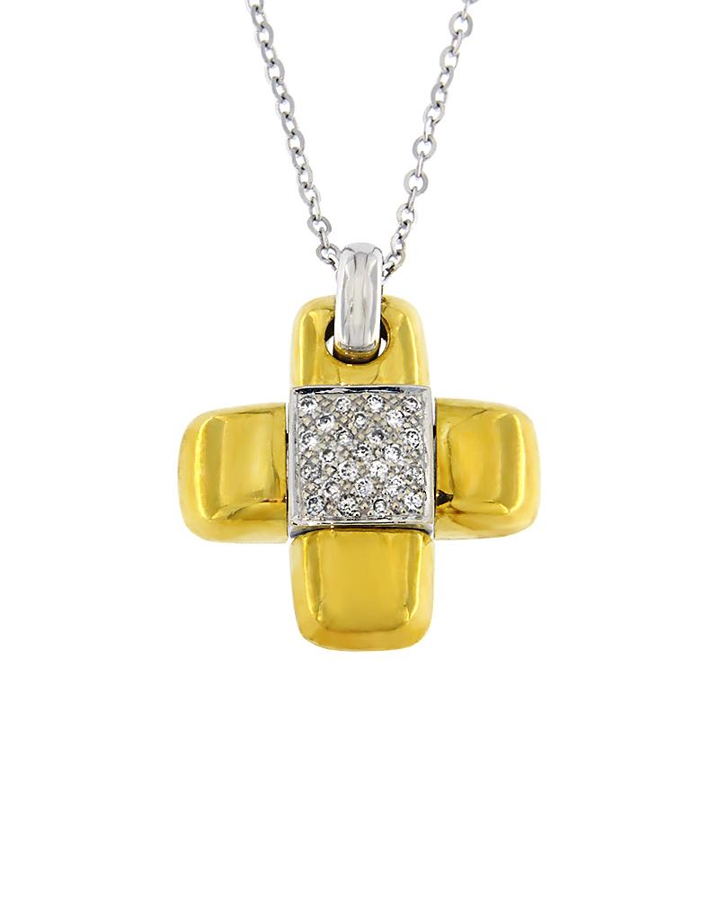 Σταυρός χρυσός και λευκόχρυσος Κ18 με Διαμάντια