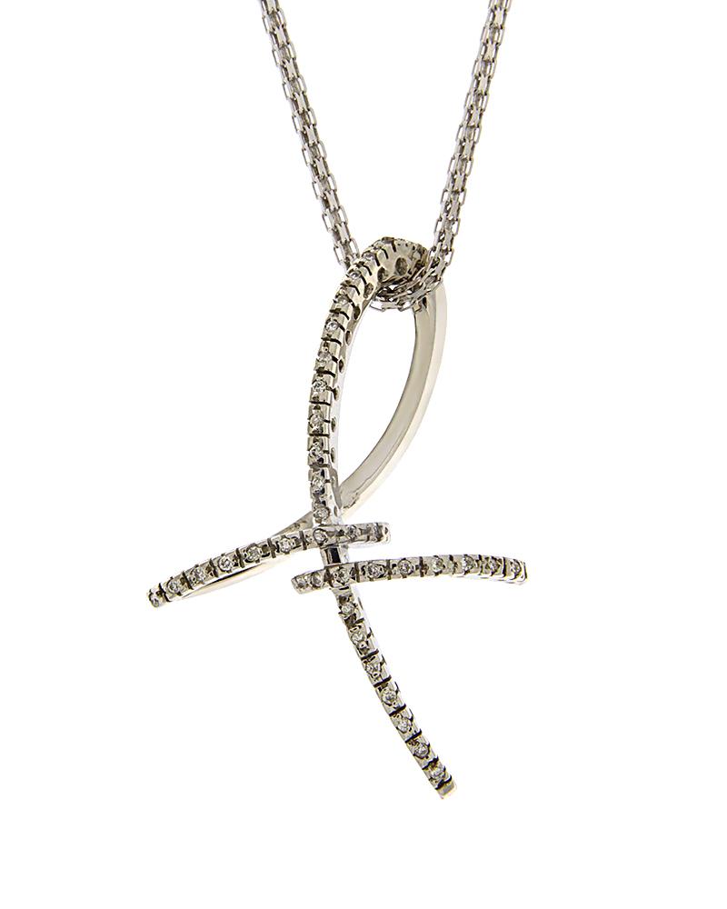 Σταυρός λευκόχρυσος Κ18 με Διαμάντια