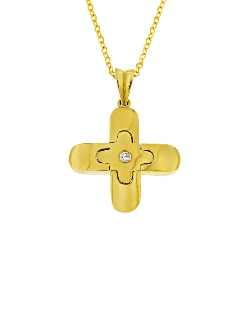 Σταυρός χρυσός Κ18 με Διαμάντι