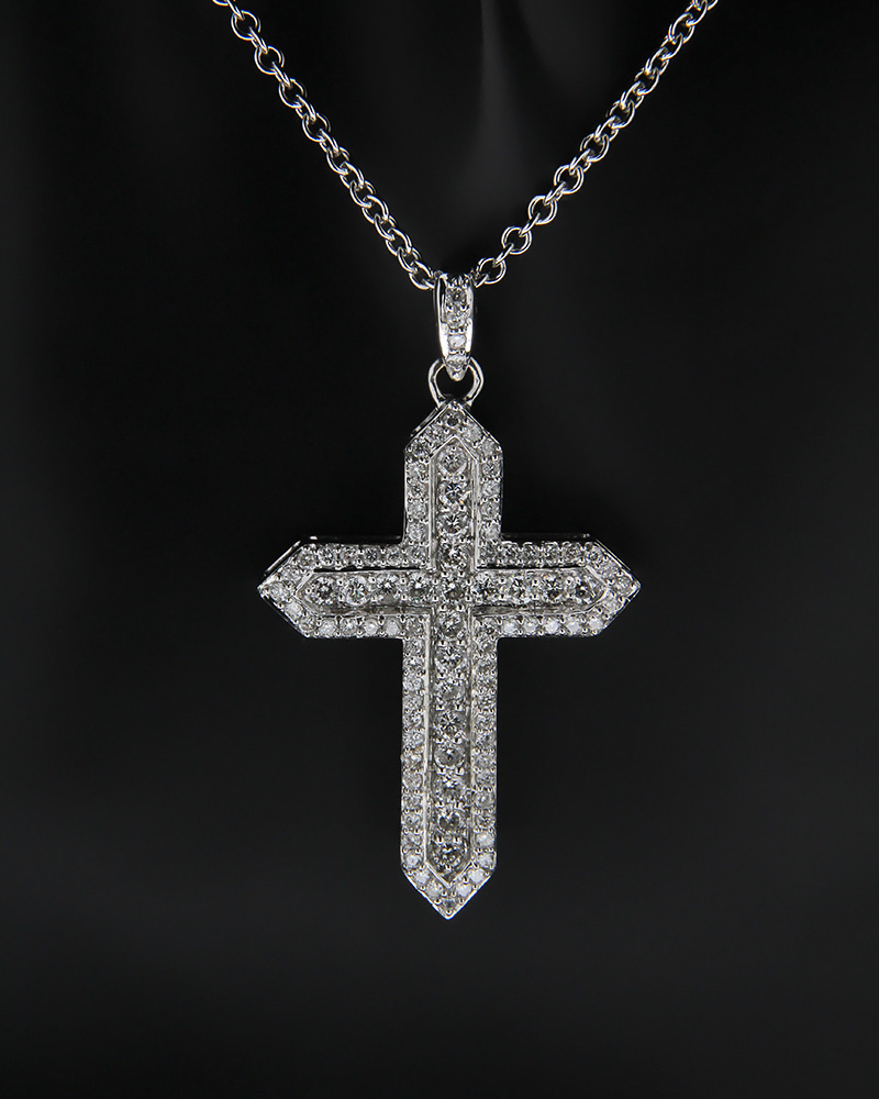 Σταυρός λευκόχρυσος K18 με Διαμάντια