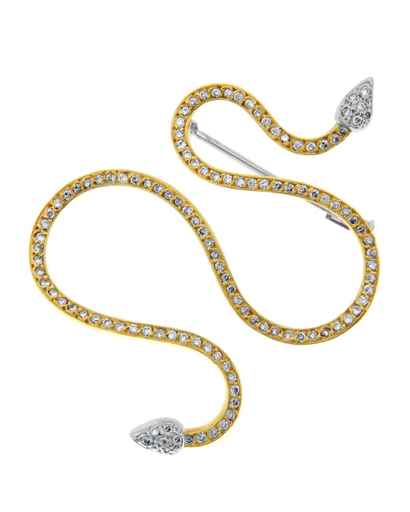 Καρφίτσα χρυσή και λευκόχρυση Κ18 με Διαμάντια