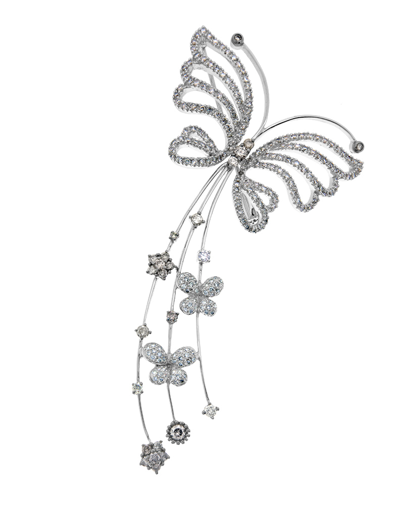 Καρφίτσα πεταλούδα λευκόχρυση Κ18 με Διαμάντια