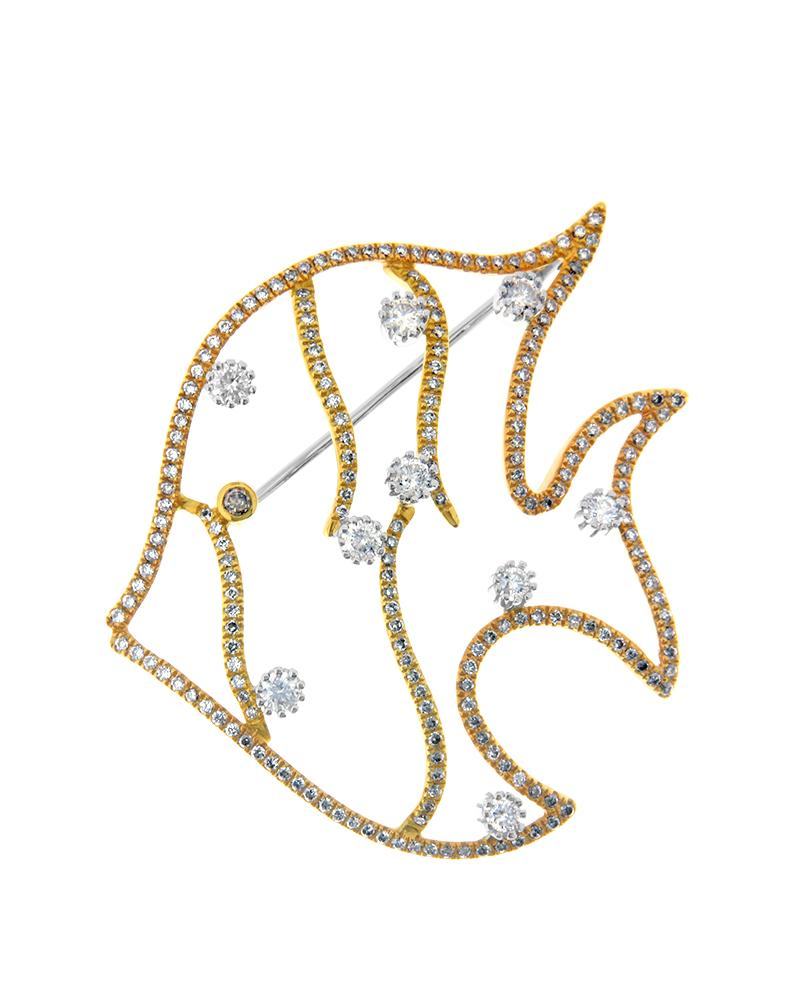 Καρφίτσα χρυσή και λευκόχρυση Κ14 με Διαμάντια