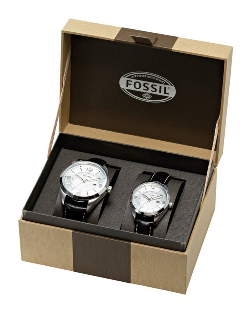 Fossil Lovers Set Black leather strap FS4558   brands fossil