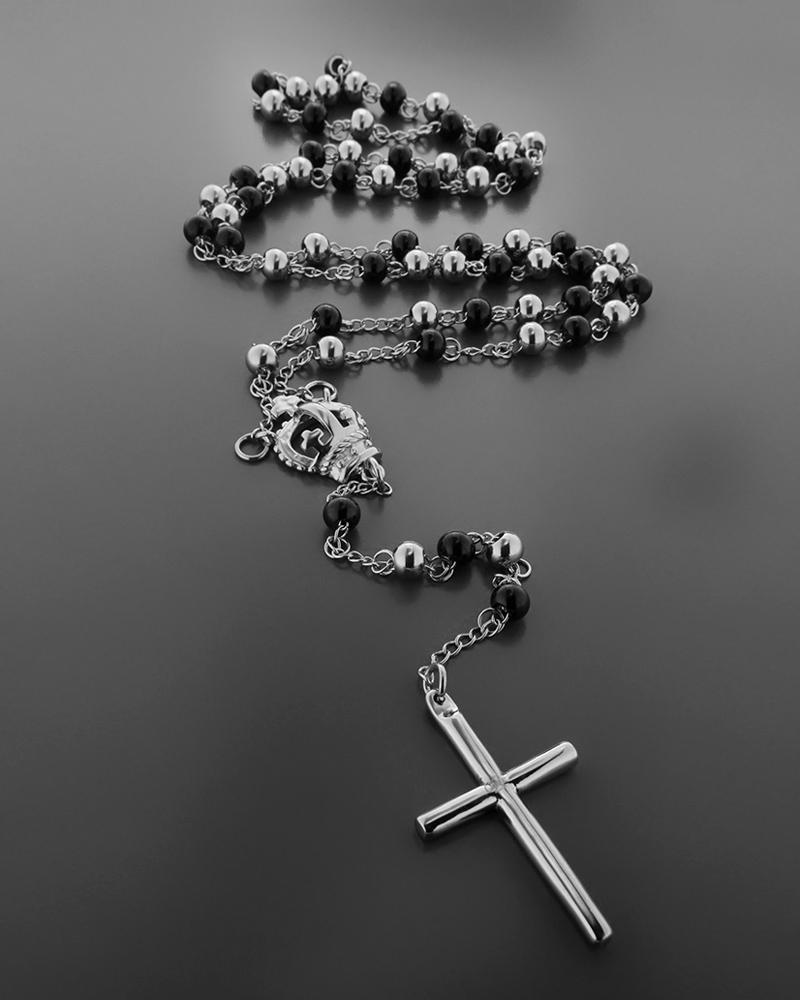 Κολιέ σταυρός ατσάλινος με μαύρες επιπλατινωμένες λεπτομερείες   νεεσ αφιξεισ κοσμήματα ανδρικά