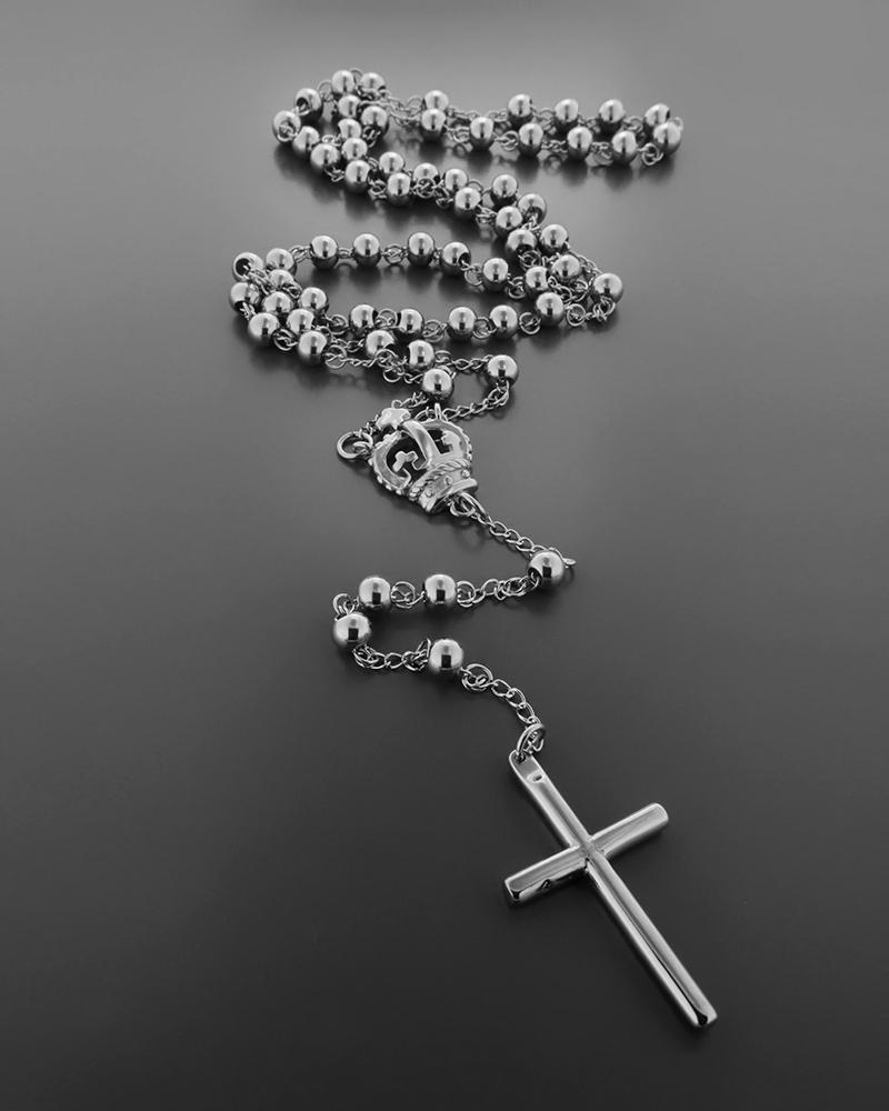 Κολιέ ατσάλινο με σταυρό και αλυσίδα   νεεσ αφιξεισ κοσμήματα ανδρικά