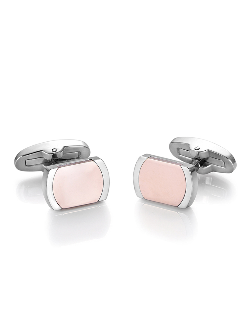 Μανικετόκουμπα ατσάλινα με ρόζ επίχρυσες λεπτομέρειες Luca Barra   νεεσ αφιξεισ δώρα