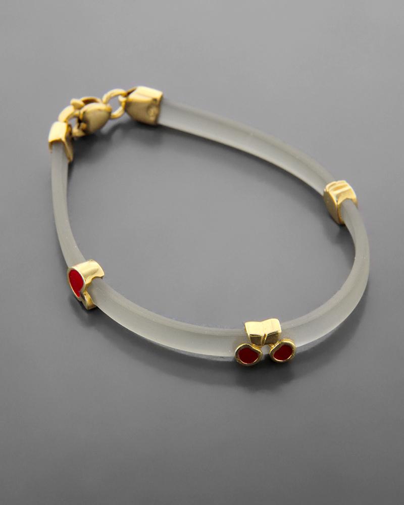 Βραχιόλι χρυσό Κ14 με σμάλτο   κοσμηματα βραχιόλια βραχιόλια δέρμα καουτσούκ