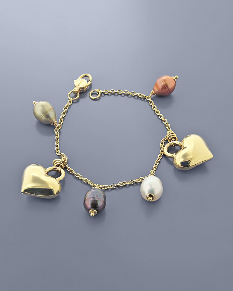Βραχιόλι καρδιές χρυσό Κ18 με μαργαριτάρια   κοσμηματα βραχιόλια βραχιόλια fashion
