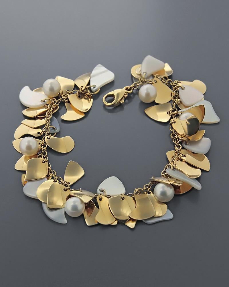 Βραχιόλι χρυσό Κ18 με φίλντισι & μαργαριτάρια   κοσμηματα βραχιόλια βραχιόλια fashion