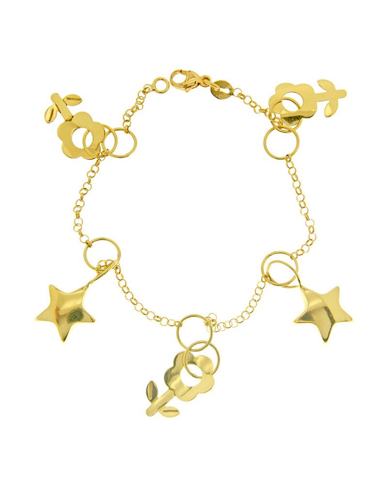 Βραχιόλι χρυσό K18 με αστεράκια και λουλούδια   γυναικα βραχιόλια βραχιόλια χρυσά