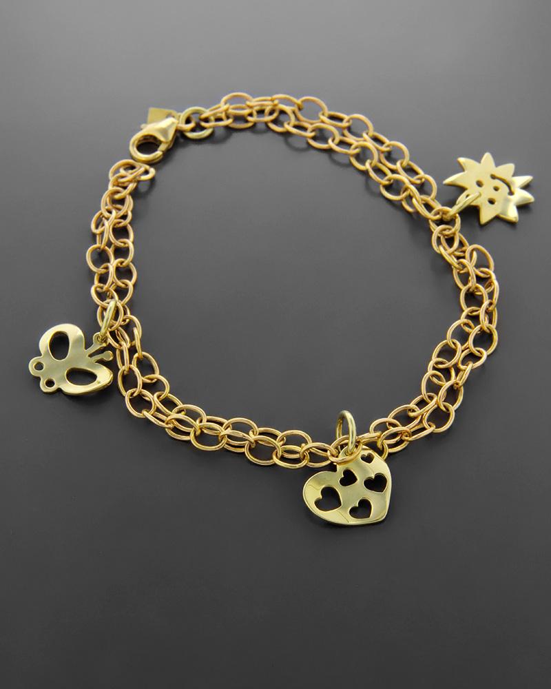 Βραχιόλι χρυσό Κ14 με μοτίφ   κοσμηματα κοσμήματα με καρδιές