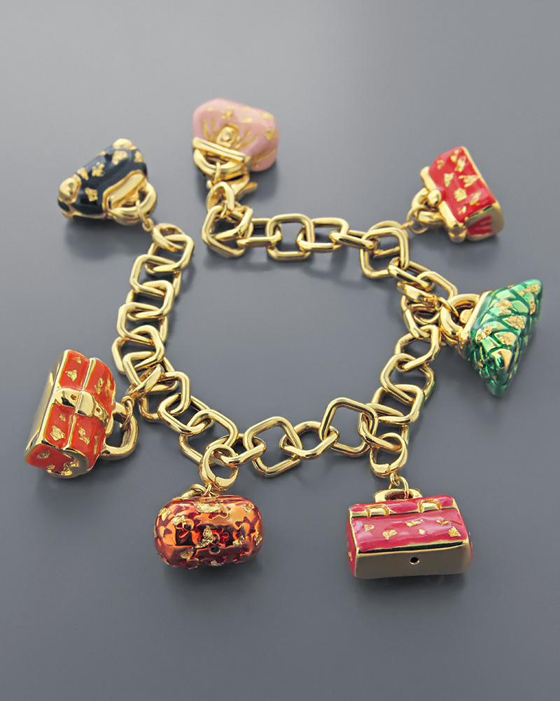 Βραχιόλι γυναικείες τσάντες χρυσό Κ18 με σμάλτο   κοσμηματα βραχιόλια βραχιόλια fashion