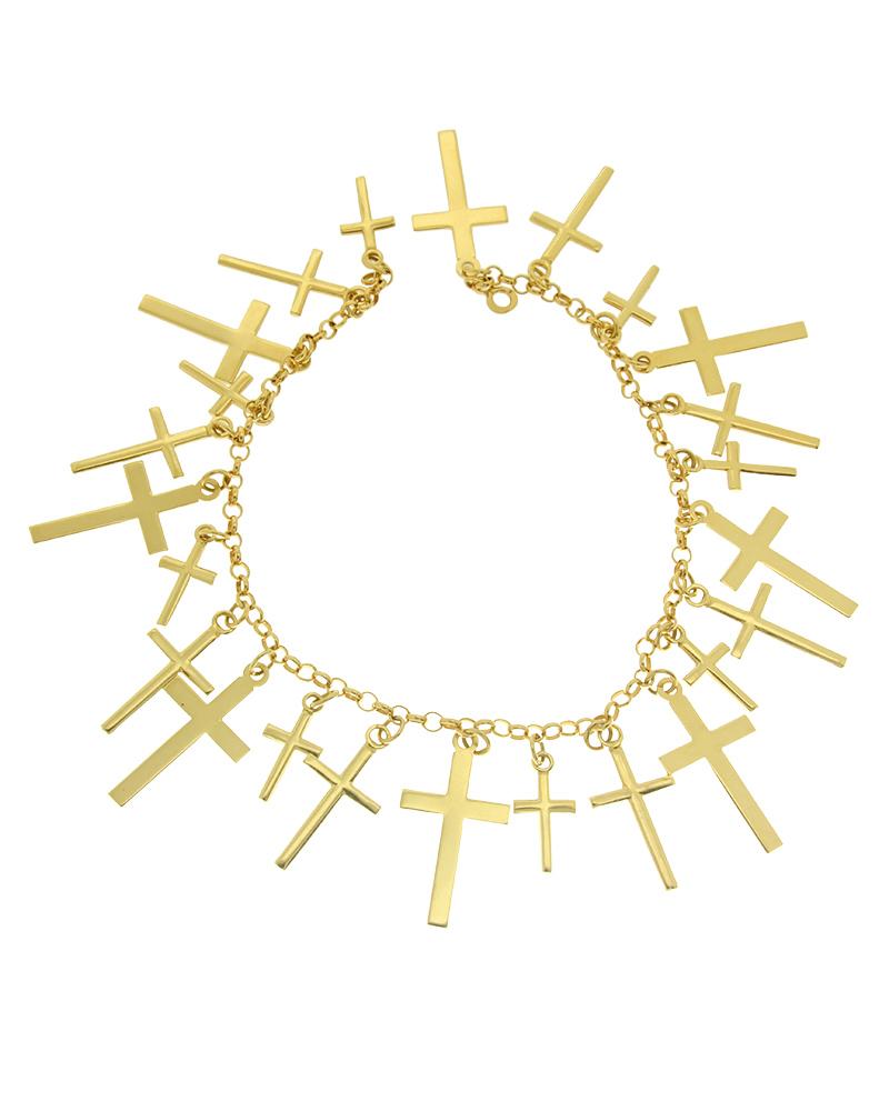 Βραχιόλι χρυσό K18 με σταυρούς   γυναικα βραχιόλια βραχιόλια χρυσά