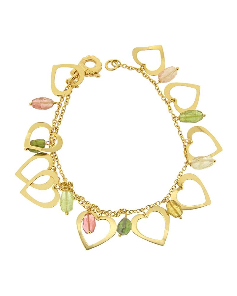 Βραχιόλι χρυσό K14 με καρδούλες και πέτρες   γυναικα βραχιόλια βραχιόλια χρυσά