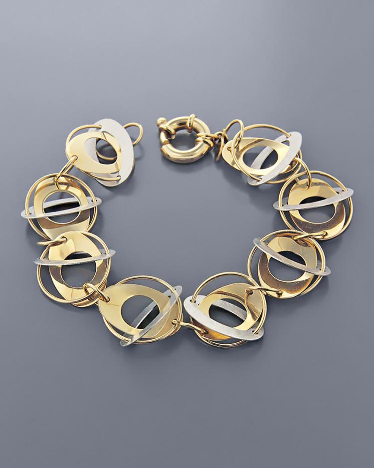Βραχιόλι σύνθεση κύκλων χρυσό & λευκόχρυσο Κ14   κοσμηματα βραχιόλια βραχιόλια fashion