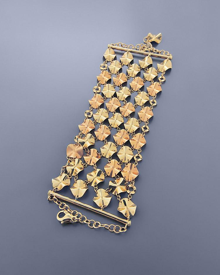 Βραχιόλι χρυσό & ροζ χρυσό Κ14   κοσμηματα βραχιόλια βραχιόλια fashion