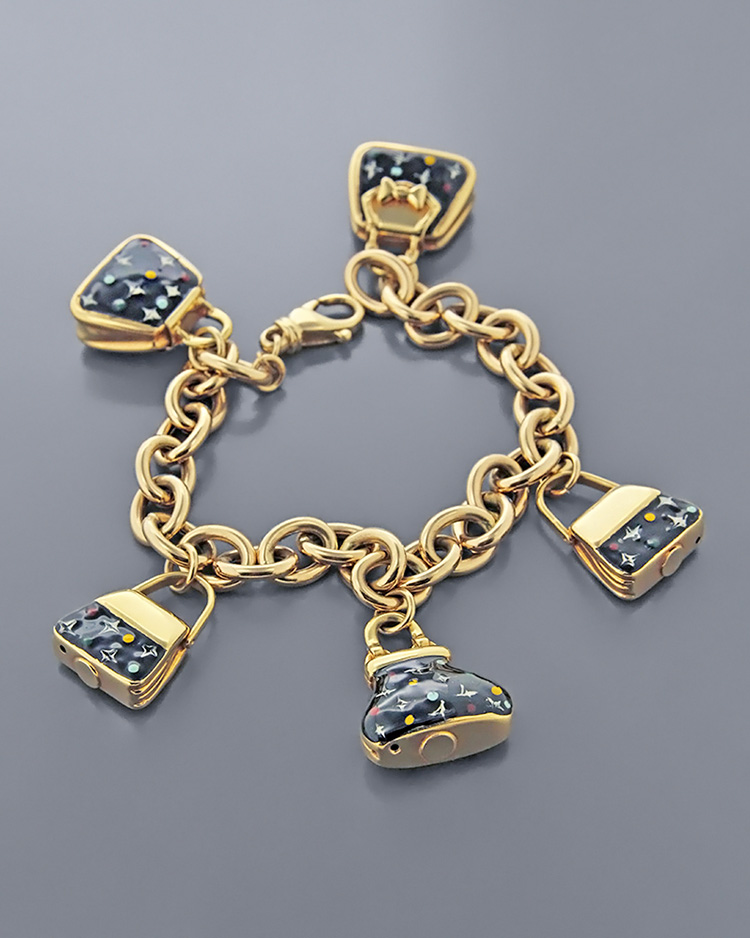 Βραχιόλι γυναικείες τσάντες χρυσό Κ14 με σμάλτο   κοσμηματα βραχιόλια βραχιόλια fashion
