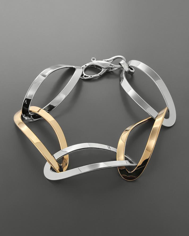 Βραχιόλι κρίκοι λευκόχρυσο & ροζ χρυσό Κ18   νεεσ αφιξεισ κοσμήματα γυναικεία