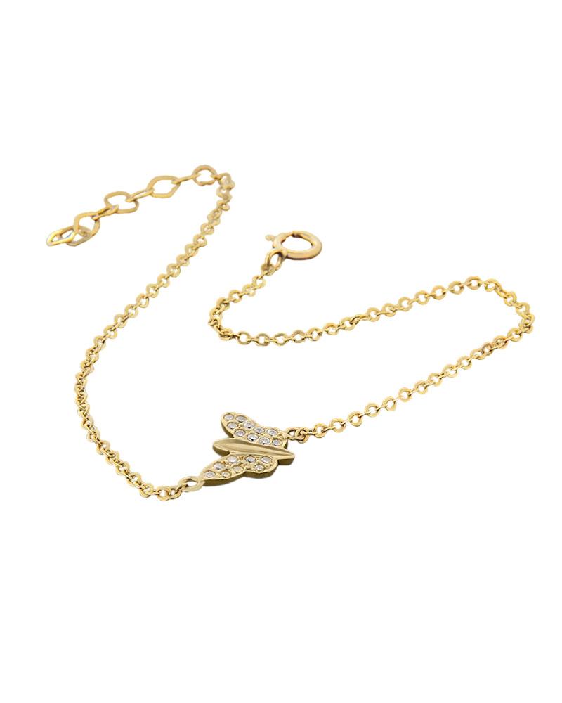 Βραχιόλι πεταλούδα χρυσό Κ14 με ζιργκόν   γυναικα βραχιόλια βραχιόλια χρυσά