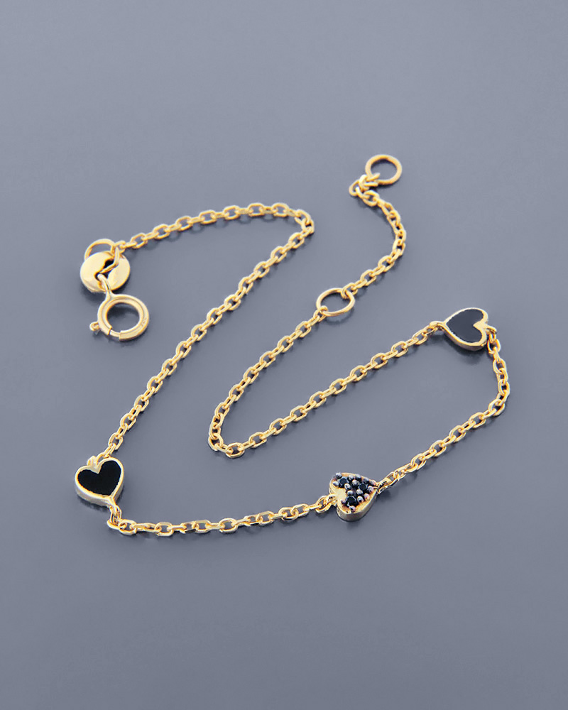 Βραχιόλι καρδιές χρυσό Κ9 με ζιργκόν και σμάλτο   γυναικα κοσμήματα με καρδιές