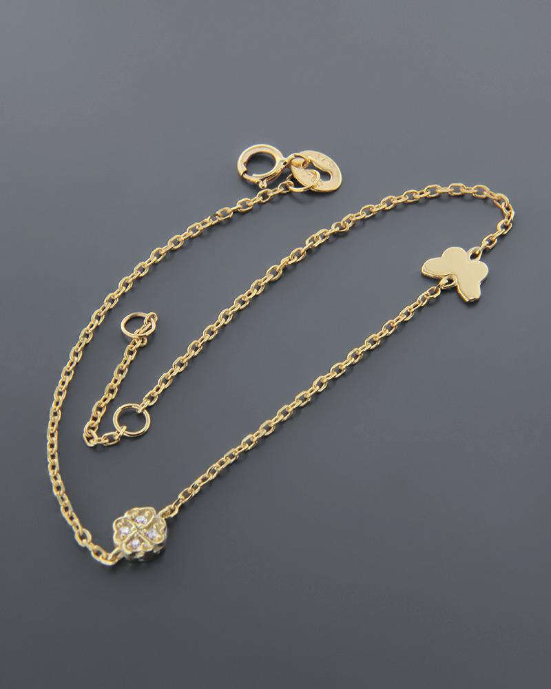 Βραχιόλι χρυσό Κ9 με ζιργκόν και σμάλτο   νεεσ αφιξεισ κοσμήματα παιδικά