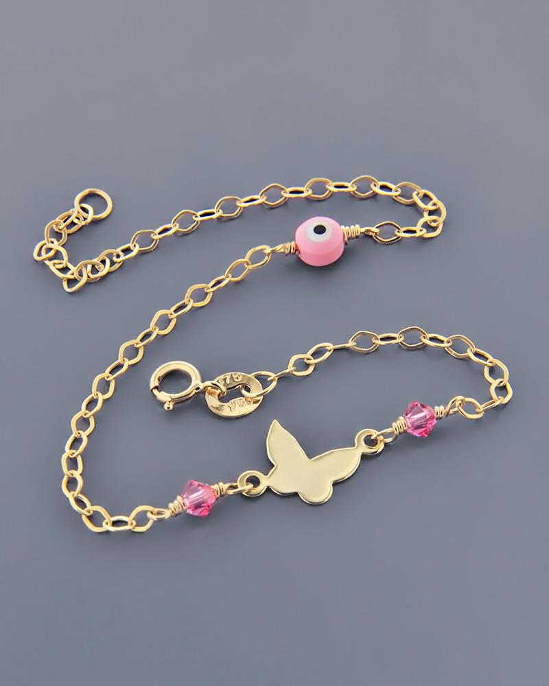 Βραχιόλι πεταλούδα και ματάκι παιδικό χρυσό Κ9 με φίλντισι   νεεσ αφιξεισ κοσμήματα παιδικά