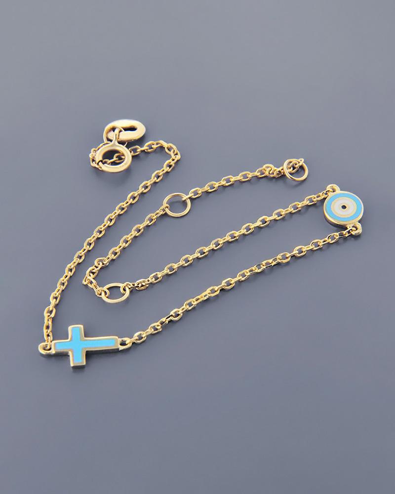 Βραχιόλι ματάκι και σταυρός παιδικό χρυσό Κ9 με σμάλτο   νεεσ αφιξεισ κοσμήματα παιδικά
