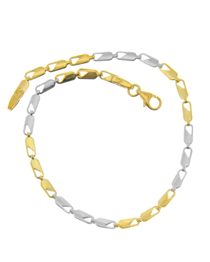 Βραχιόλι χρυσό και λευκόχρυσο Κ9   γυναικα βραχιόλια βραχιόλια χρυσά