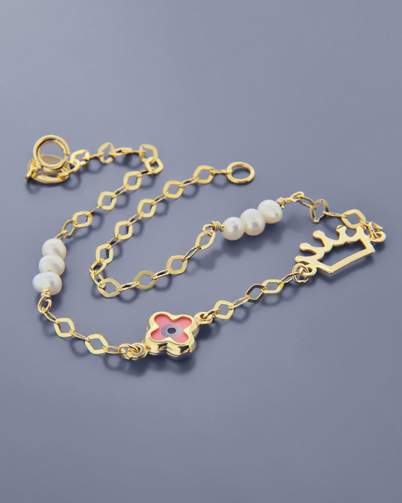 Βραχιόλι σταυρός ματάκι με κορώνα, από χρυσό Κ9 με σμάλτο   νεεσ αφιξεισ κοσμήματα παιδικά