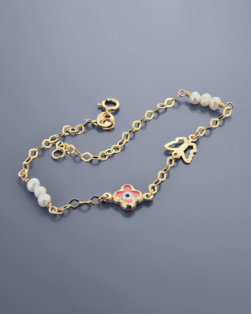 Βραχιόλι μάτι και πεταλούδα χρυσό Κ9 με φίλντισι και πέρλες   κοσμηματα κοσμήματα με ματάκι