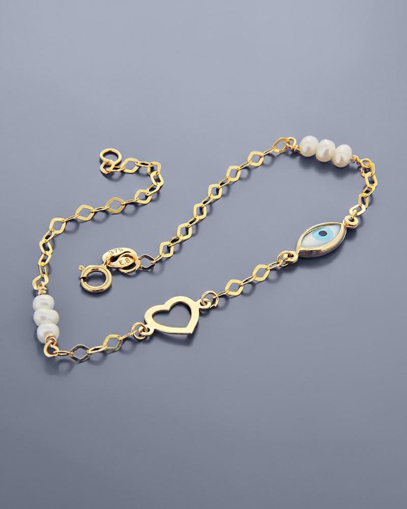 Βραχιόλι καρδιά και μάτι χρυσό Κ9 με φίλντισι και πέρλες   κοσμηματα κοσμήματα με ματάκι