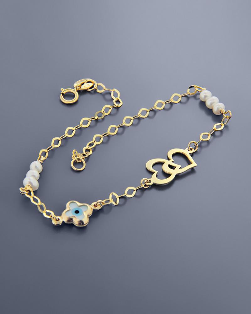 Βραχιόλι μάτι και καρδιές χρυσό Κ9 με φίλντισι και πέρλες   κοσμηματα κοσμήματα με ματάκι