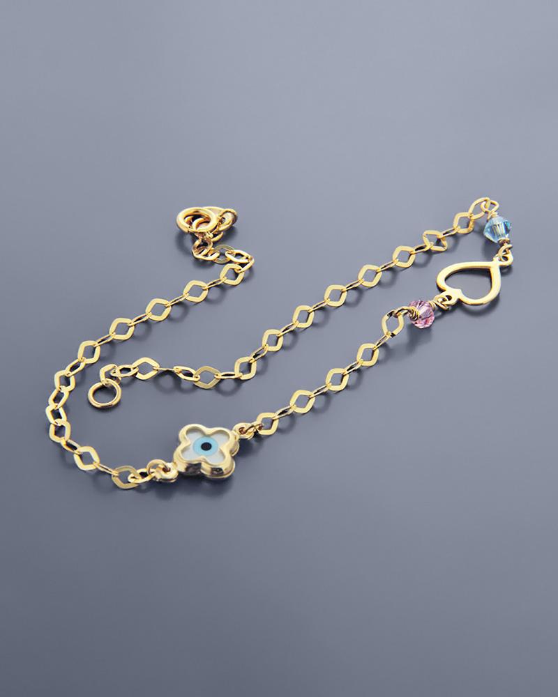 Βραχιόλι μάτι και καρδιά χρυσό Κ9 με φίλντισι   κοσμηματα κοσμήματα με ματάκι
