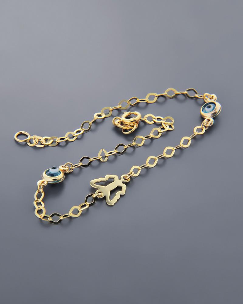 Βραχιόλι δύο ματάκια με χρυσή πεταλούδα Κ9   γυναικα βραχιόλια χρυσά