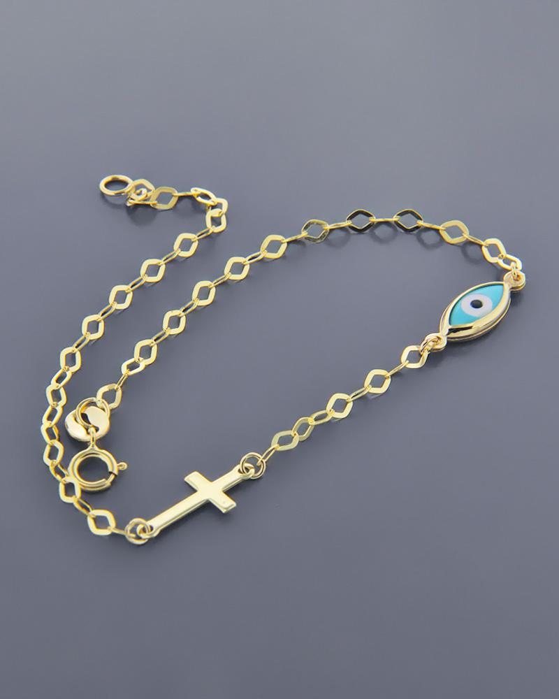 Βραχιόλι ματάκι και σταυρός χρυσός Κ9   νεεσ αφιξεισ κοσμήματα παιδικά