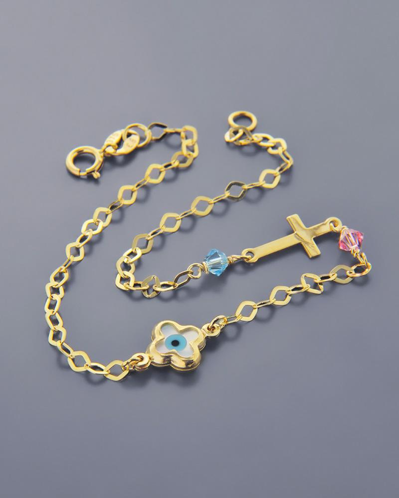 Βραχιόλι χρυσό Κ9 ματάκι και σταυρός με κρυσταλλα   παιδι βραχιόλια παιδικά