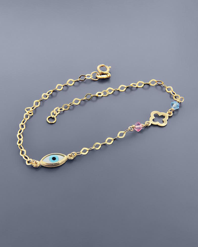 Βραχιόλι μάτι και σταυρός χρυσό Κ9 με φίλντισι   κοσμηματα κοσμήματα με ματάκι