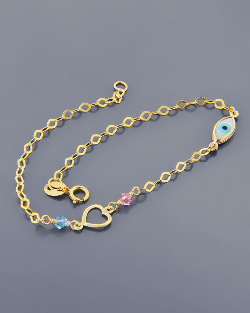 Βραχιόλι χρυσό Κ9 με καρδιά και ματάκι από Φίλντισι   κοσμηματα βραχιόλια βραχιόλια παιδικά