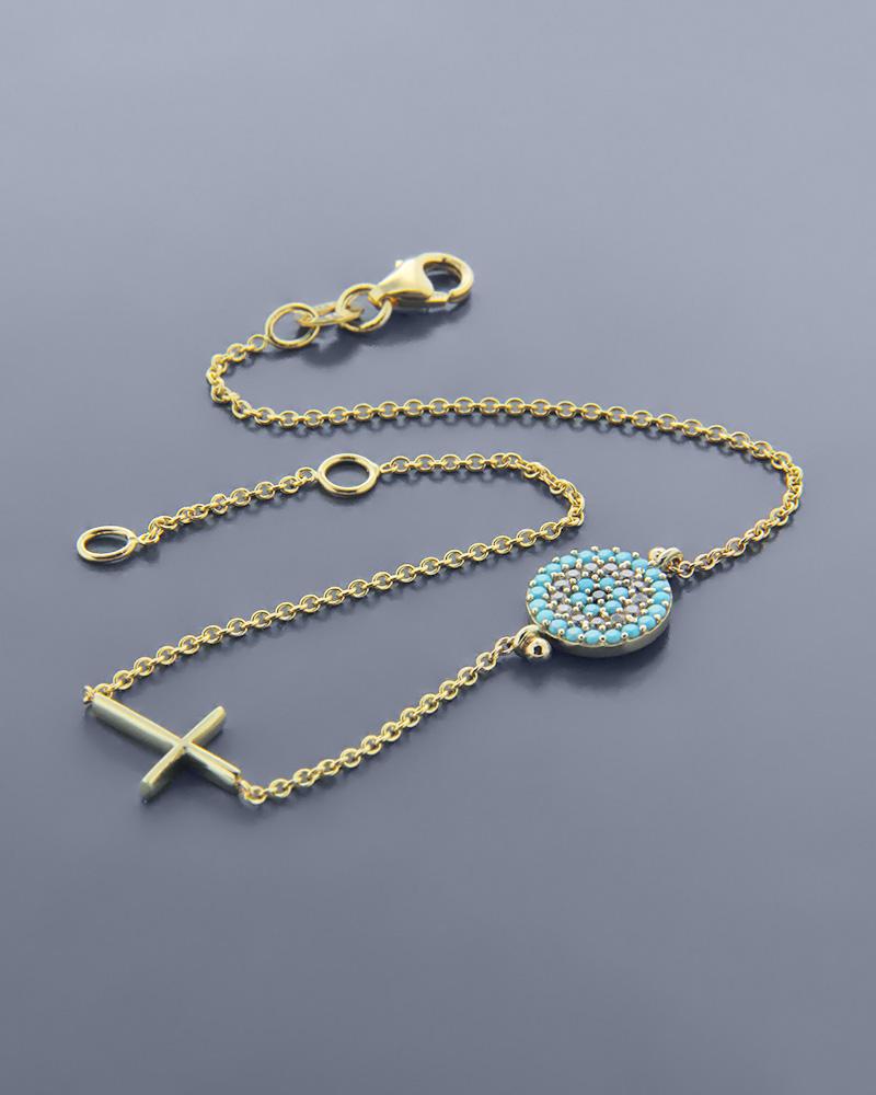 Βραχιόλι φυλαχτό χρυσό Κ14 ματάκι με ζιργκόν και σταυρός   νεεσ αφιξεισ κοσμήματα γυναικεία