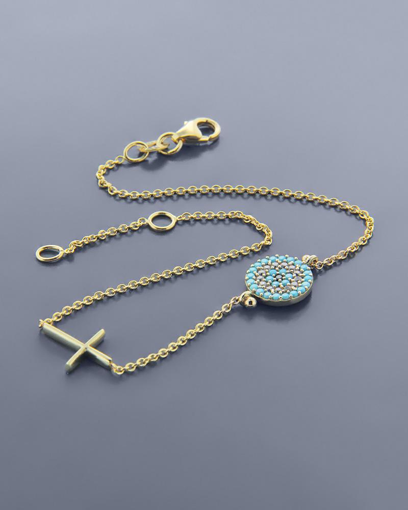 Βραχιόλι φυλαχτό χρυσό Κ14 ματάκι με ζιργκόν και σταυρός ... 4caf07a3663