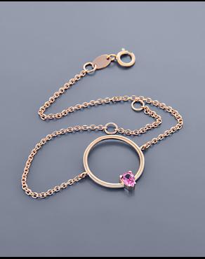 Βραχιόλι κύκλος ροζ χρυσό Κ14 με ζιργκόν 466f937ac8e