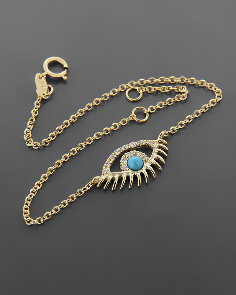 Βραχιόλι μάτι χρυσό Κ14 με ζιργκόν και πάστα τυρκουάζ   νεεσ αφιξεισ κοσμήματα γυναικεία