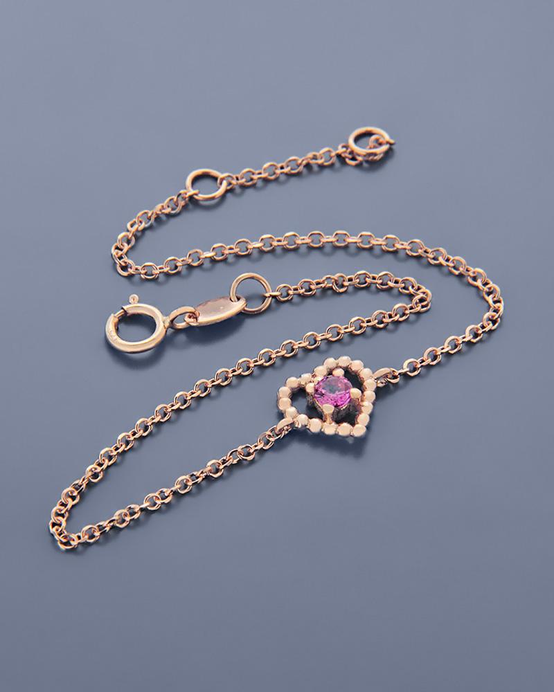 Βραχιόλι καρδιά ροζ χρυσό Κ9 με ζιργκόν