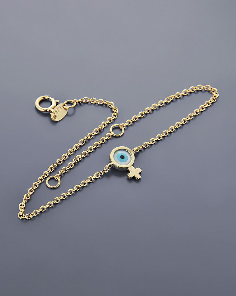 Βραχιόλι ματάκι με σταυρό χρυσό Κ9 με φίλντισι   κοσμηματα κοσμήματα με ματάκι