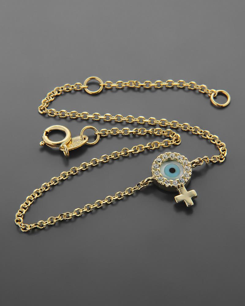 Βραχιόλι ματάκι με σταυρό χρυσό Κ9 με ζιργκόν και φίλντισι   κοσμηματα κοσμήματα με ματάκι