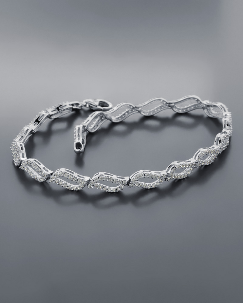 Βραχιόλι Λευκόχρυσο Με Ζιργκόν Κ14   νεεσ αφιξεισ κοσμήματα γυναικεία